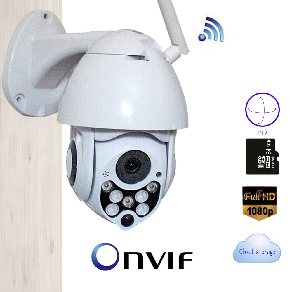 1080P Wireless PTZ IP Camera Speed Dome WIFI Outdoor Cloud ONVIF Two Way  Audio