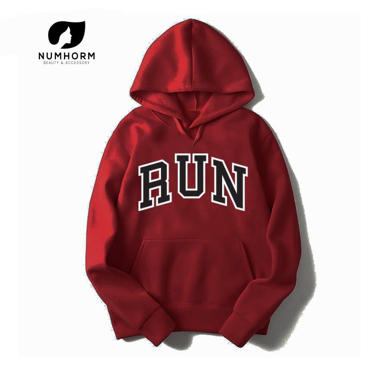 Numhorm เสื้อกันหนาวมีฮู้ด พร้อมส่ง! เสื้อฮู้ดแบบสวมหัว พิมพ์ลาย RUN ผ้านิ่มใส