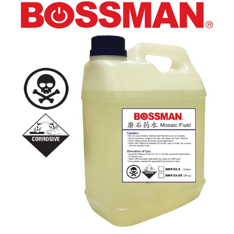 BOSSMAN BMF3325  MOSAIC FLUD  25 LITRE 33% EASY USE SAVE TIME CLEANING ACCESSORIES
