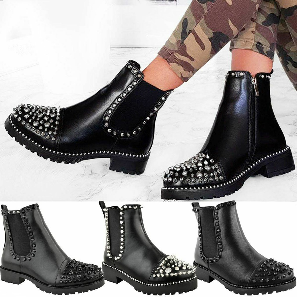 LADIES WOMENS GOTH ZIP ANKLE STUDDED GUSSET CHELSEA PUNK CHUNKY BOOTS SHOES SZ
