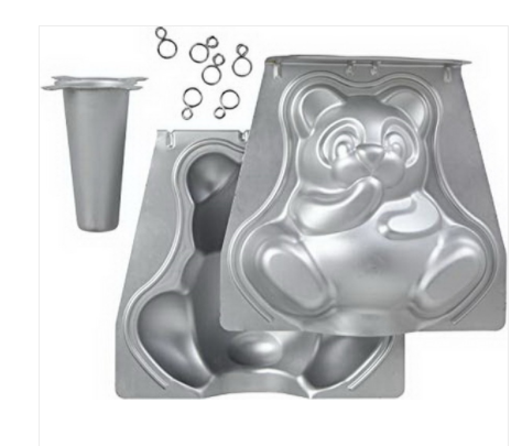 3D Cuddly Bear Pan Set Aluminium - 9.5 x 8.6 In