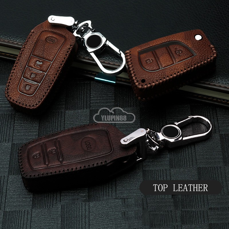 Genuine Leather Car Key Cover Case Folding Keychain Fob Coin