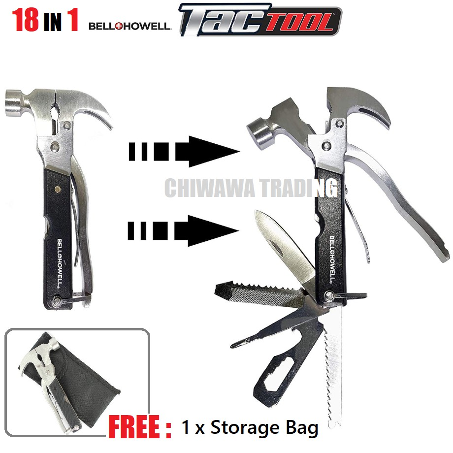 TAC TOOL Multipurpose 18 In 1 Hammer Plier Claw Saws Screwdriver Wrench Stripper Knife Cutter Multitool Handtool