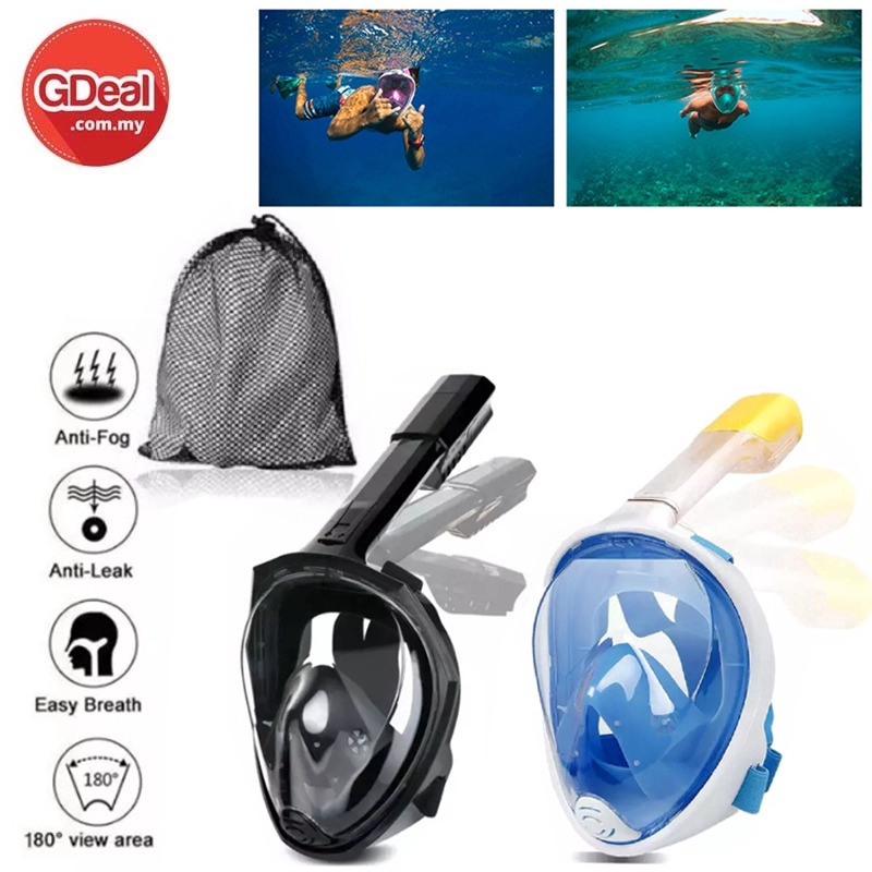 GDeal Adult Silicone Snorkeling Mask Suit Full Dry Diving Mask Anti Fog Camera Breathing Tube