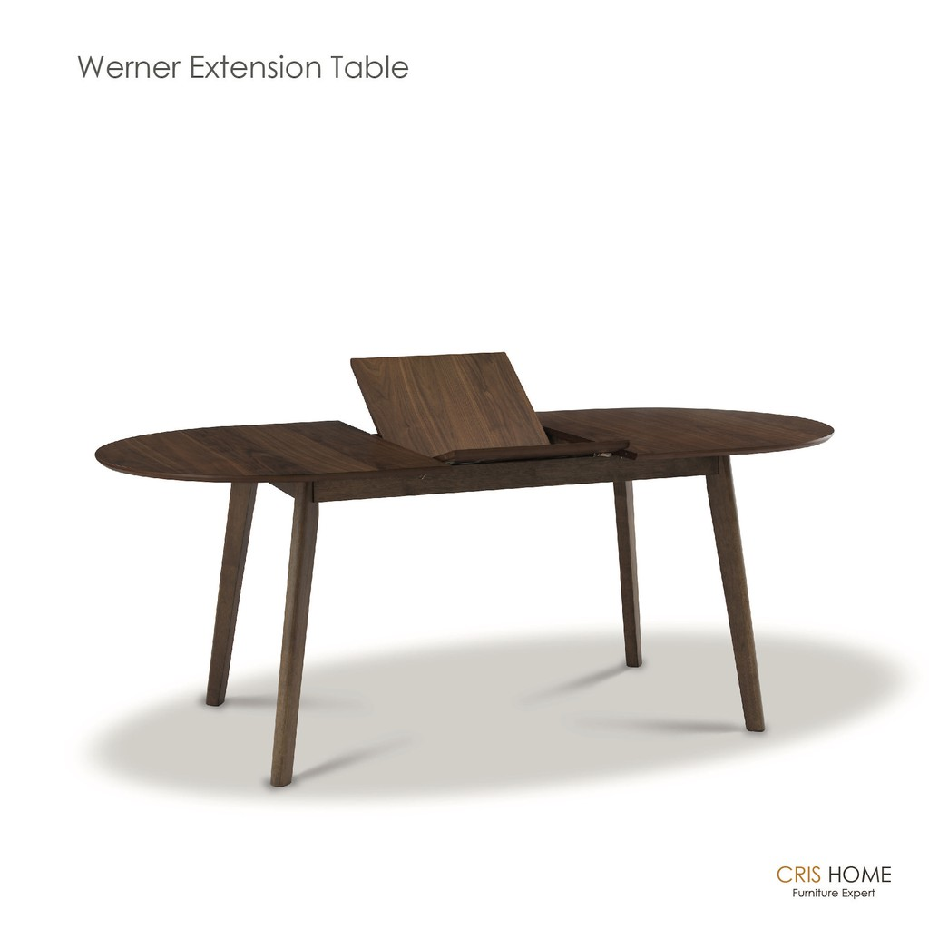 CrisHome - Werner Oval Extension Table 150cm+45cm / Long Dining Desk ( Free Shipping to WM )