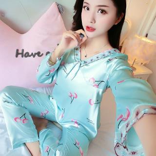 2a3dfe784a ✖☂Ice silk pajamas female thin long sleeve summer sexy cute home dress  spring a | Shopee Malaysia