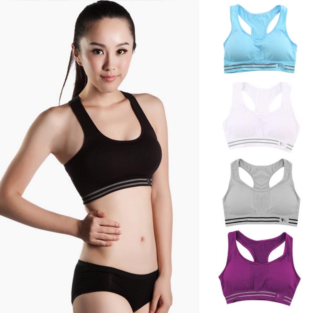 305b5916ec 🌱Women Seamless Racerback Sports Bra Yoga Fitness Padded Athletic Vest