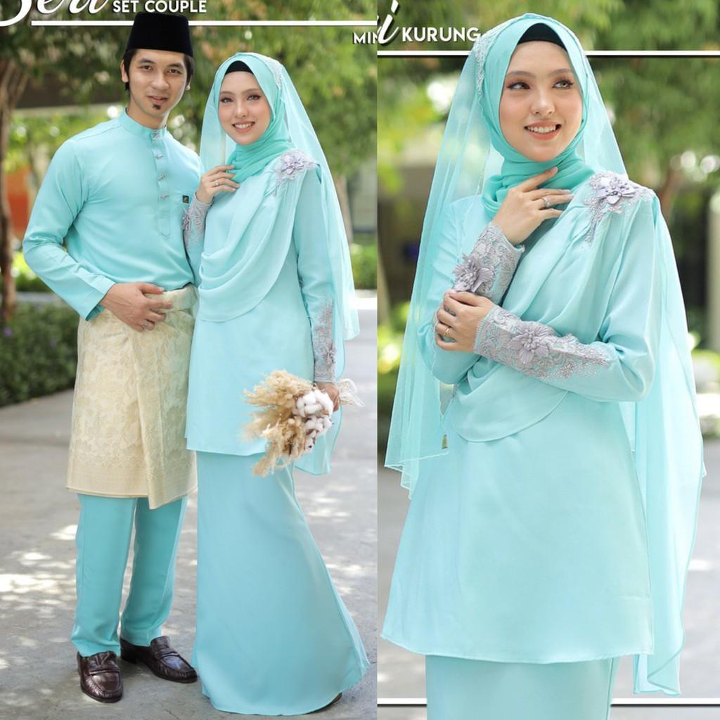 Baju Kurung Moden Seri Set Couple Sedondon Nikah Tunang Sanding Raya Hijau  Mint Green