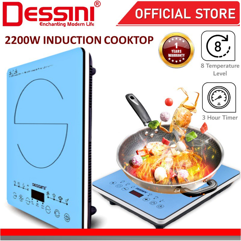 DESSINI ITALY Ceramic Electromagnetic Induction Hob Cooker Ultra Slim Soft Touch Control Panel Cooktop Tabletop Stove
