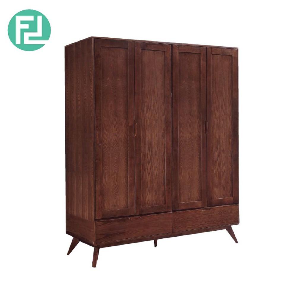 Furniture Direct MODESTO SOLID WOOD 4 DOOR WARDROBE-WALNUT