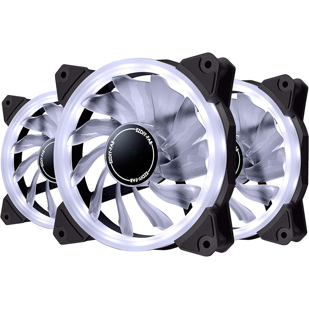 and Radiators,4-Pin-3-Pack EZDIY-FAB 120mm PWM Blue LED Fan Dual-Frame LED Case Fan for PC Cases High Airflow Quiet,CPU Coolers
