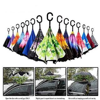 Cute Pastel Unicorn Double Layer Windproof UV Protection Reverse Umbrella With C-Shaped Handle Upside-Down Inverted Umbrella For Car Rain Outdoor
