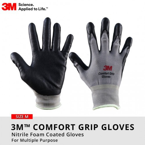 3M Comfort Grip Nitrile Foam Coated Gloves Multipurpose (Sarung Tangan) - SIZE M / L / XL