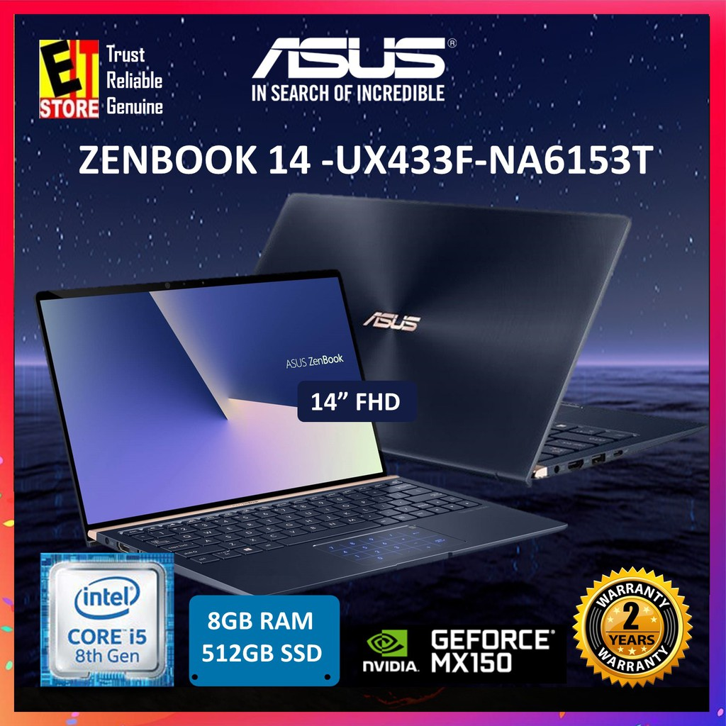 ASUS ZENBOOK UX433F-NA6153T ROYAL BLUE (I5-8265U/8G/512GB/MX150  2G/14