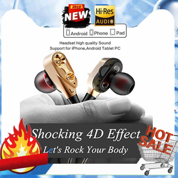 Original Dynamic Drivers Dual In-ear Earbuds,Noise Reduction Earphones with  Mic
