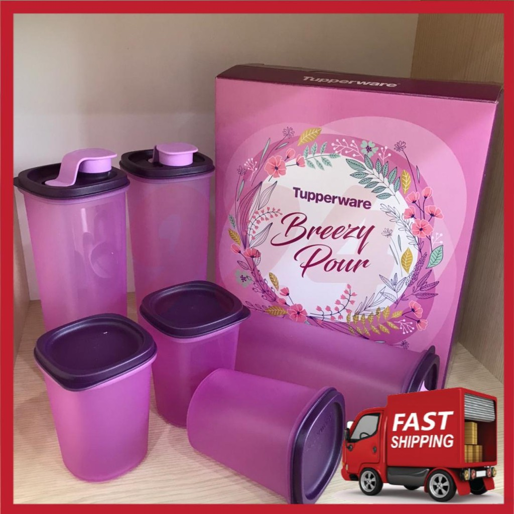 [Ready Stok] Tupperware Breezy Pour Set Smart Saver Round Set 440ml & 930ml Mini Stor N Pour 250ml Set