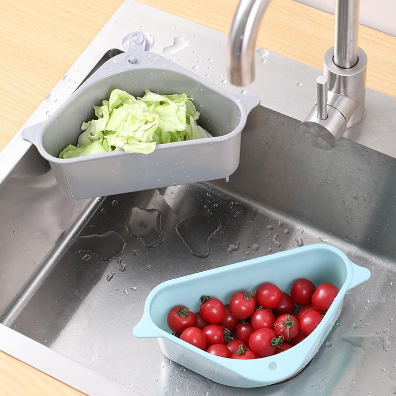 Kitchen Drainer Basket Sink Shelf Triangular Sink Strainer Drain Storage Rack