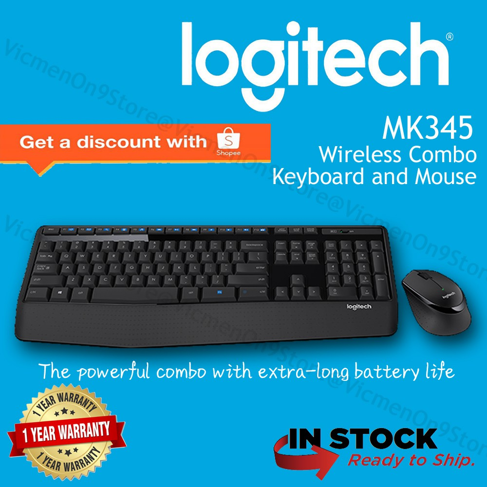 Logitech Mk240 Wireless Keyboard Mouse Combo White Black Shopee Malaysia