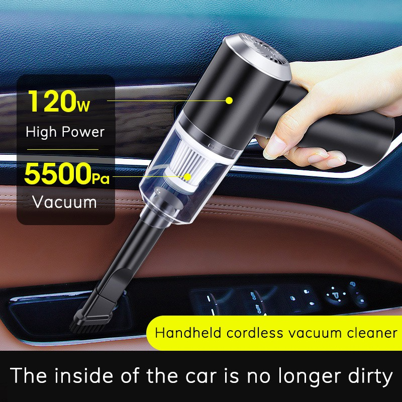 Car/Home Dual Used Vacuum Cleaner 120W High-power Handheld Wireless Portable USB Rechargeable FREE 2 spare filter