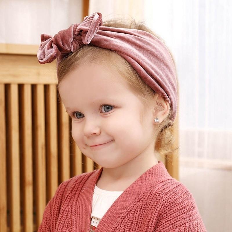 Kids Girls Baby Toddler Velvet Headband Hair Bow Band Hat Cap Headwear Turban
