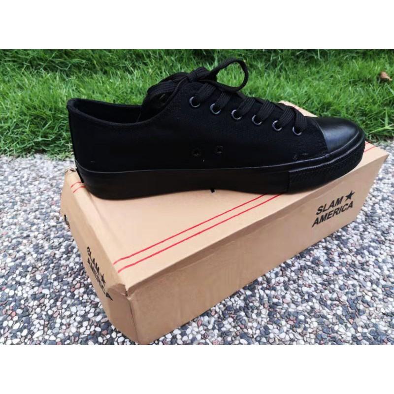 SHL ALL BLACK Shoes School shoes kasut sekolah Kasut Hitam canvas shoes中小学黑色校鞋( Size35-46)