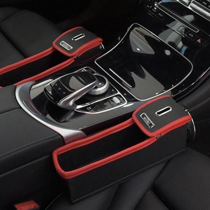Beige Leather Car Seat Slit Gap Organizer Console Catcher Filler Storage Box Coin Cup Holder Bag Side Pocket Vehicle Con