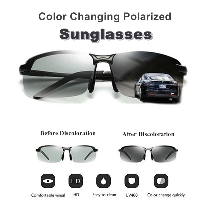 New Arrivals Black Top Quality Color Changing HD Polarized Sunglasses