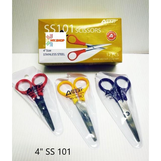 """Astar SS101 4"""" Stainless Steel Scissors  ( Sharp Headed )"""
