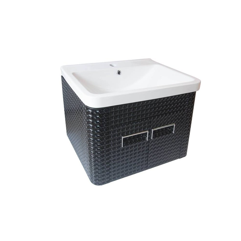 WALL MOUNTED CERAMIC BASIN WITH ALUMINIUM CABINET NIS-452