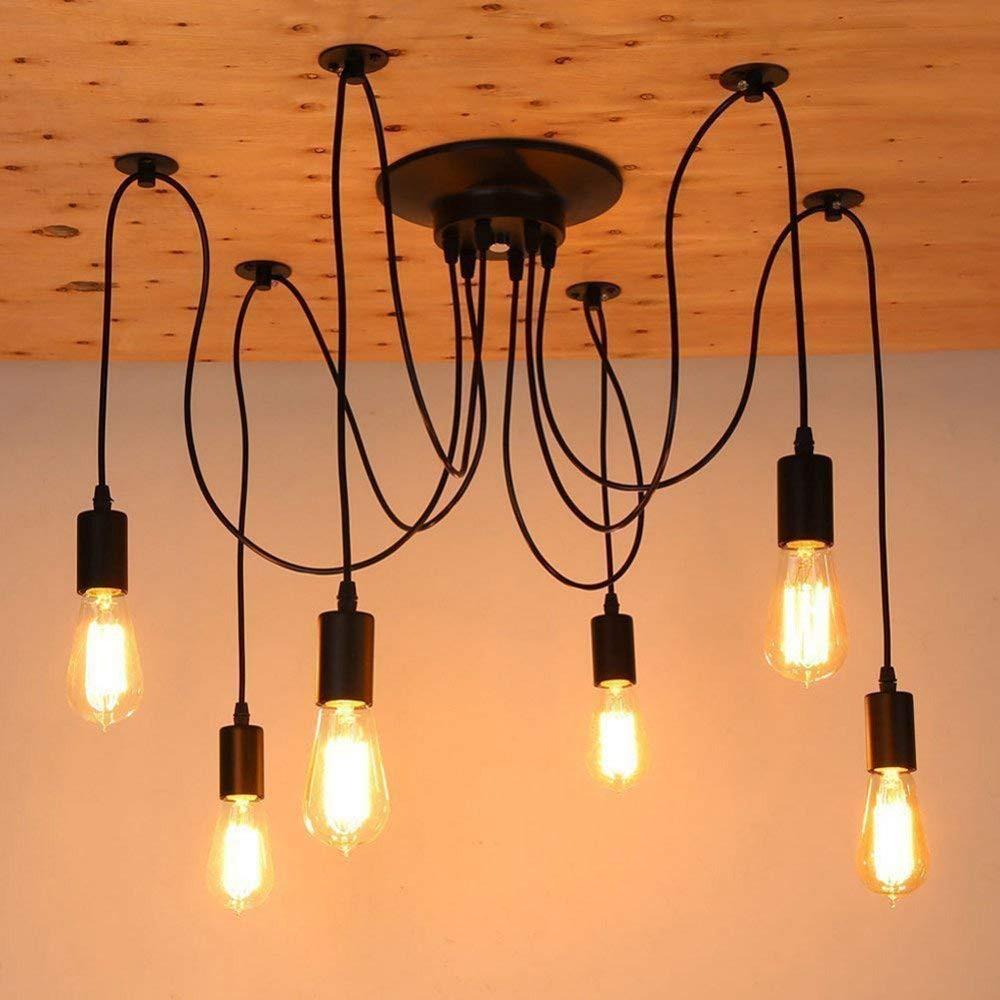 Diy Pendant Lights Nordic Retro Hanging Lamp Edison Bulb Fixtures Spider Ceiling