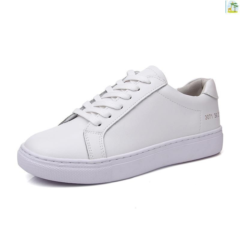 46167cd8cf503 Leather small white shoes power power no word round head flat bottom casual  sing
