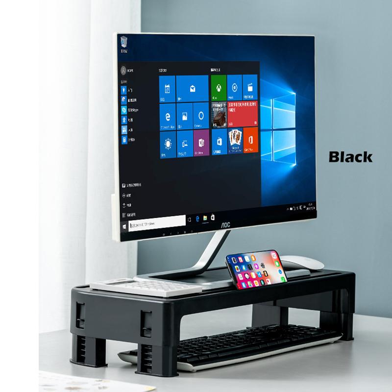 GDeal Computer Monitor Adjustable Height Rack Base Desktop Keyboard Storage Rack Tray Heightening