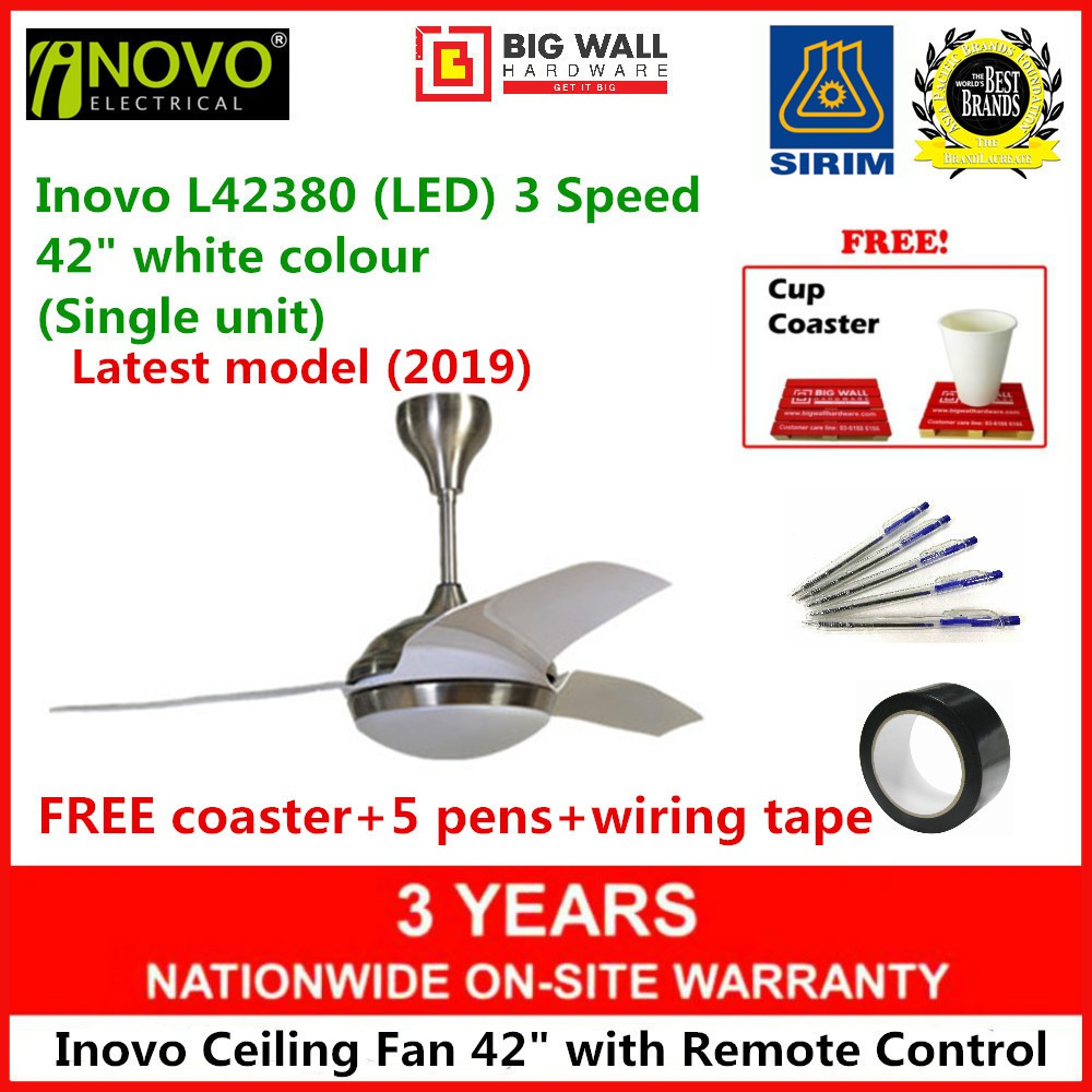 """Inovo Ceiling Fan Model L42380 42"""" With LED Lamp Remote Control 3 Speed (1 unit) Kipas Siling"""