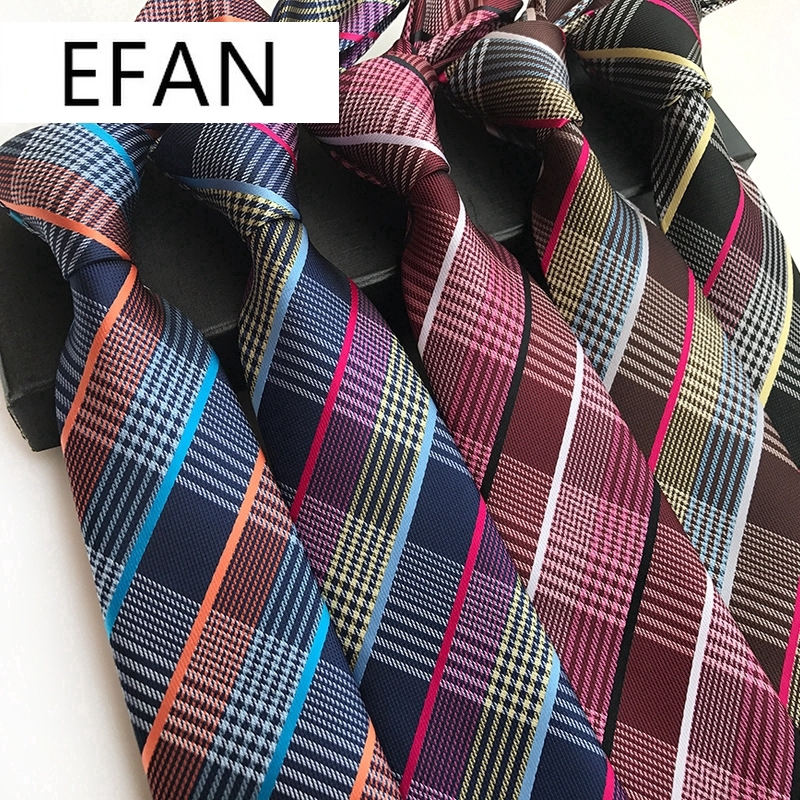 Fashion Red Gray Stripe plaid Man Classic Silk JACQUARD Woven Necktie Party