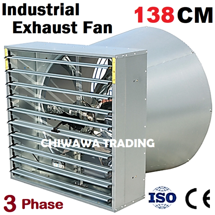 """THREE Phase 138CM Butterfly Shutter Style Cone Exhaust Fan (55"""") 55 Inch Industrial Ventilator Ventilation Air Extractor"""