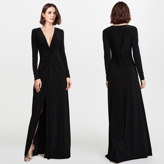 9dd3c7566ac Long Sleeve Sexy V Neck Formal Evening Ball Gown Party Dinner Maxi Dress  7735