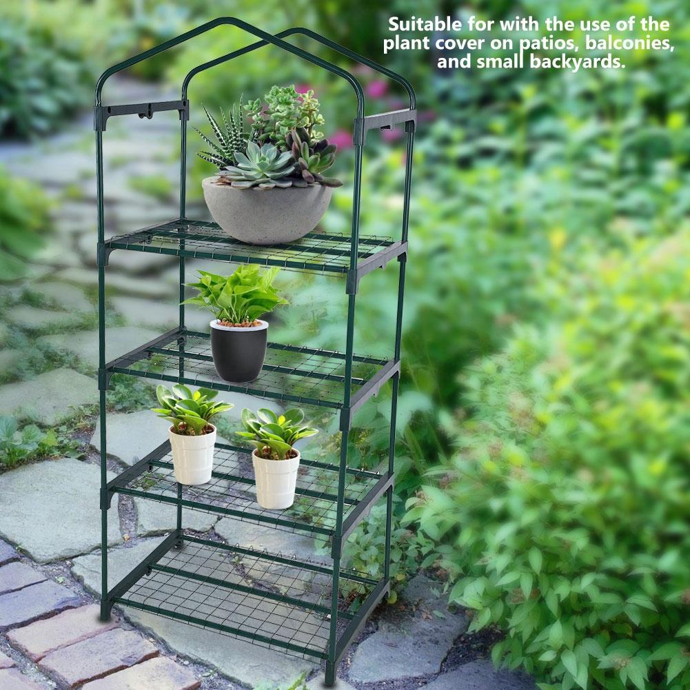 69 X 49 X 126cm 4 Tier Mini Greenhouse Iron Stands Shelves Garden Balconies Patios Decor Garden Tool Fine Quality Garden Buildings Garden Greenhouses