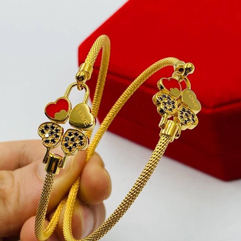 Gelang Emas Clovers ~ Red / Red Clovers Bangle (Emas 916)