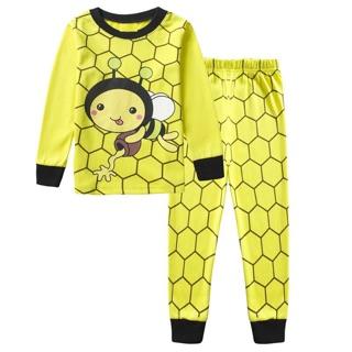 d89090ab7dee5c Kids Baby Boys Cute Bee Print Soft Cotton Pyjamas Set Long Sleeve Sleepwear  2-7Y   Shopee Malaysia