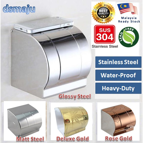 Solid SUS304 Stainless Steel Toilet Paper Holder Paper Bathroom Tissue Box