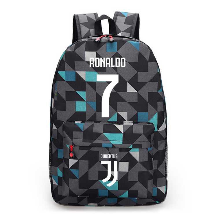 New Juventus Logo Black Backpack Cristiano Ronaldo 7 Shoulder Canvas School Bag