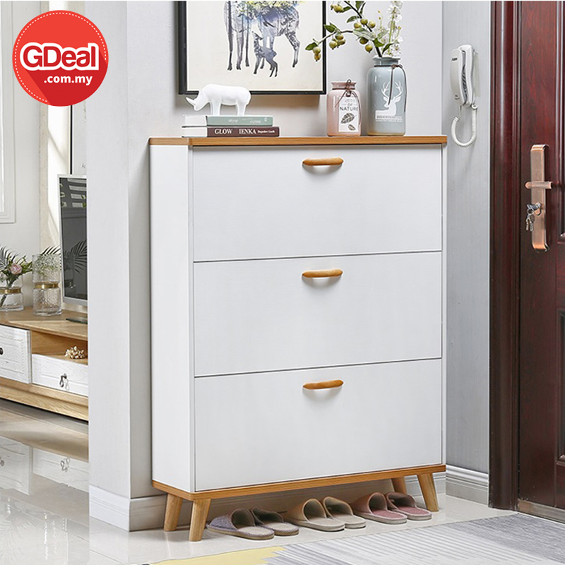 GDeal Simple Modern Economical Ultra Thin Wooden 24cm Width Shoe Cabinet Storage Rack