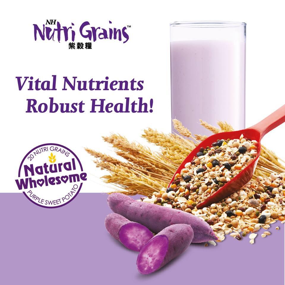 Nh Nutri Grains With Purple Sweet Potato 1kg x 2 Tins [Free 1 Glass Bottle- Green]