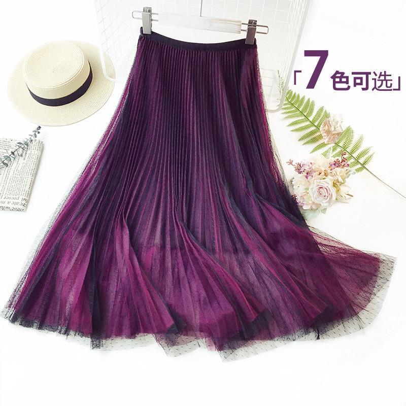 0a7852dac New Women High Waist Fashion Gradient Pleated A-line Midi Skirt Korean  Version | Shopee Malaysia