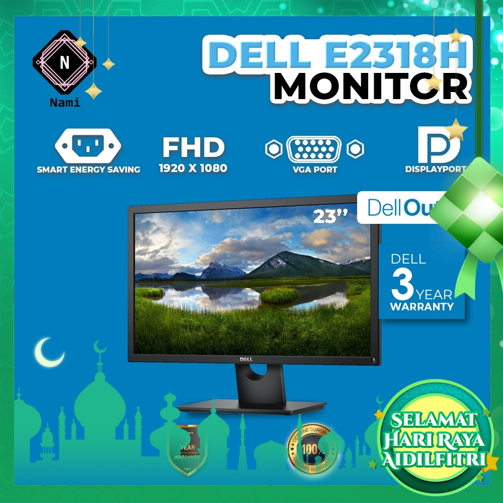 """Dell Outlet Refurbished - E2318H 23"""" Full HD IPS LED Monitor - 3 Years WTY by Dell"""