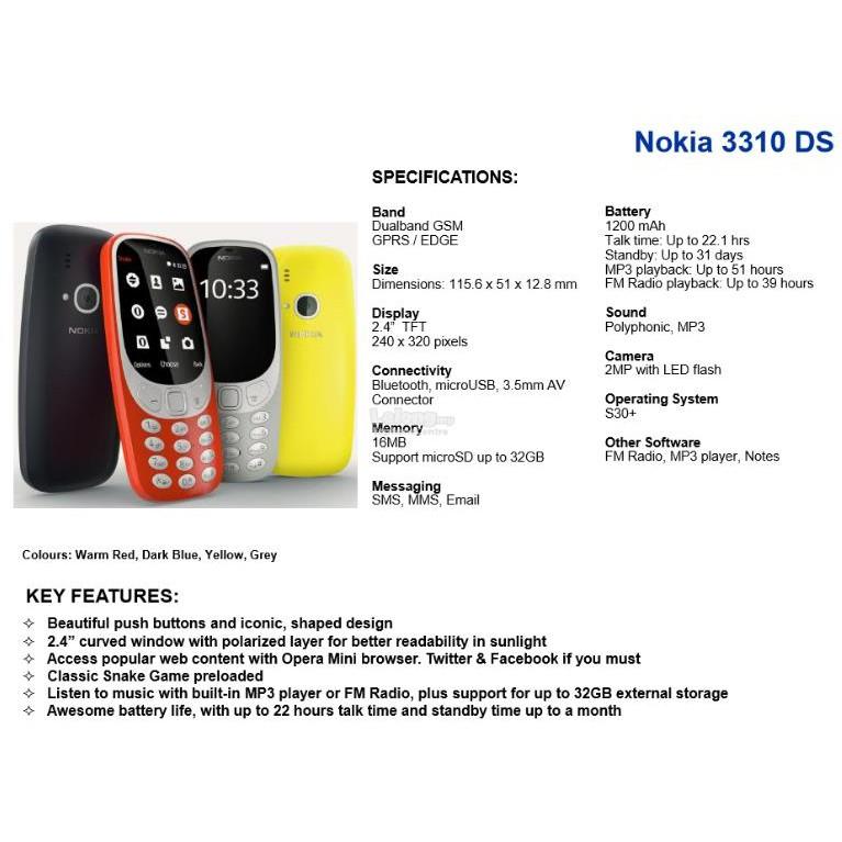 100% New OEM Nokia 3310 [2017] | Shopee Malaysia