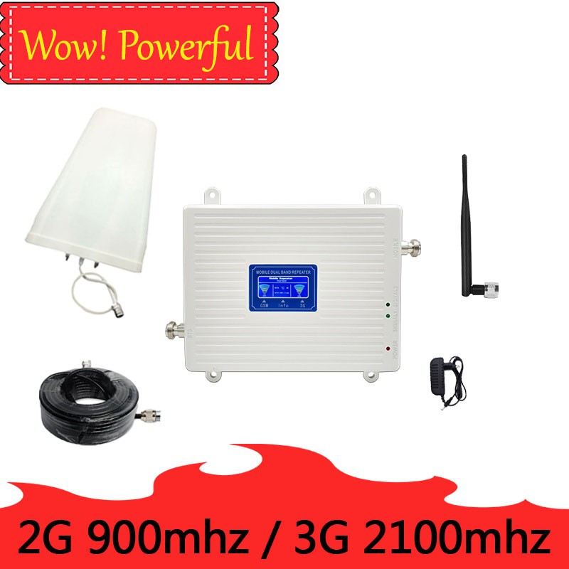 2G 900MHZ GSM 3g 2100MHZ repeater dual band cell phone 900 2100 UMTS 70 db  gain signal booster Cellular amplifier