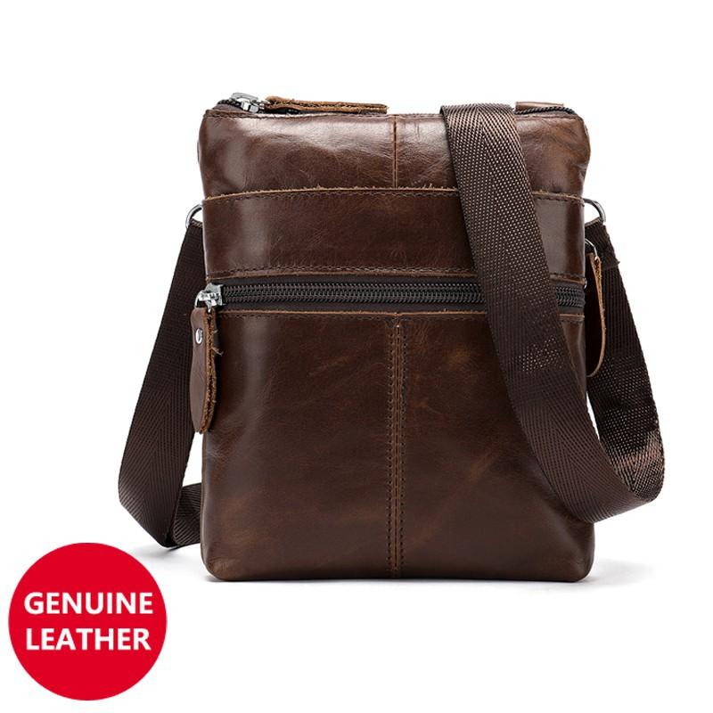 283dc67f0e4 🔥Vintage Genuine Cowhide Leather Men Messenger Bags Small Cross Body Bag  Coffee | Shopee Malaysia