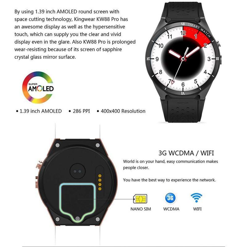 kingwear Kw88 Pro 3G Smart Watch Camera Heart Rate Monitor