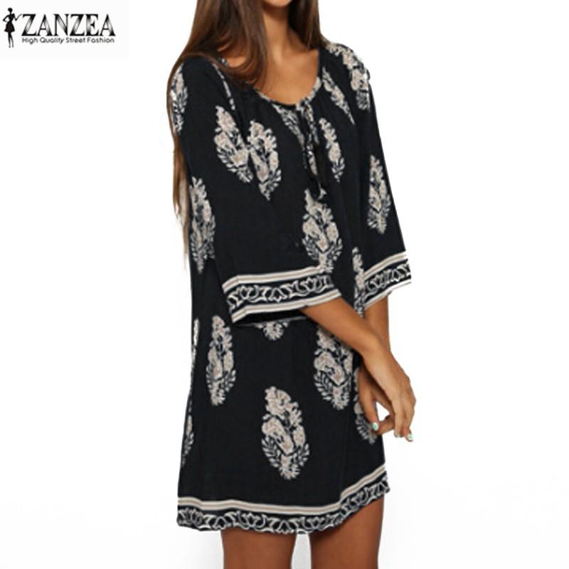 320e39e421cf ZANZEA Women s Boho Summer Beach Sundress Floral Mini Dress (Plus Size  8-26)